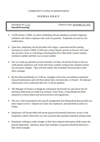 Payroll Policy Statement
