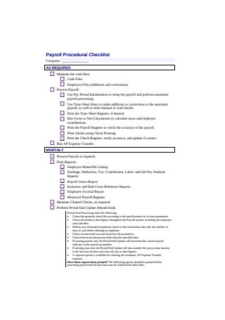 Payroll Procedural Checklist