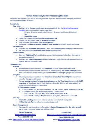 Payroll Processing Checklist