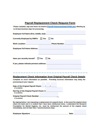 Payroll Replacement Check Request Form
