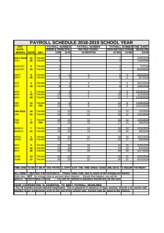 Payroll Schedule Sample