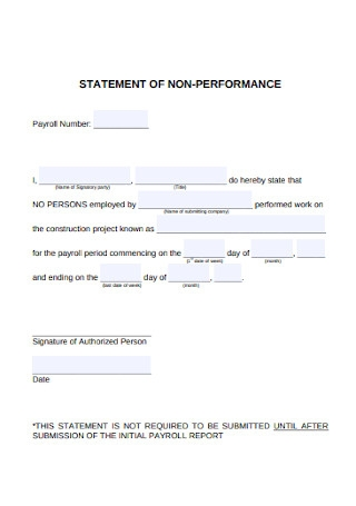 Payroll Statement of Non Performance