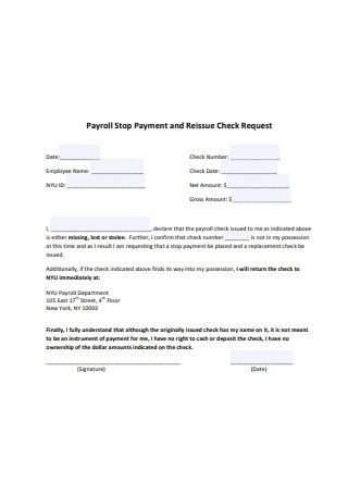 Payroll Stop Payment and Reissue Check Request Form