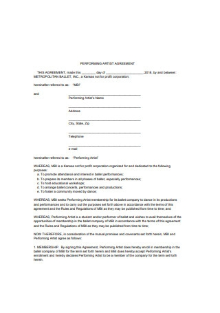 Performing Artist Agreement