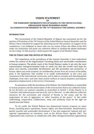 Permanent Representative Vision Statement