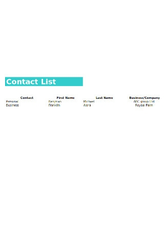 Personal Contact List