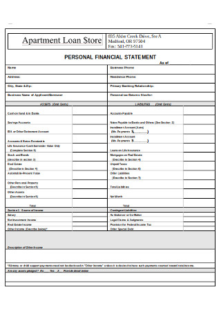 Personal Loan Financial Statement