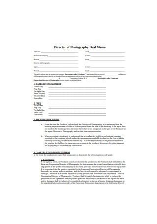 Photography Deal Memo