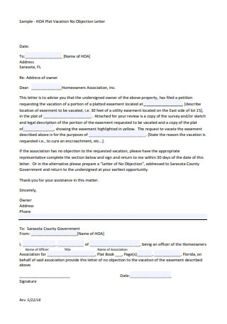 Plat Vacation No Objection Letter
