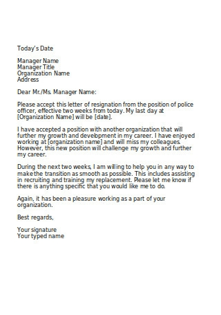 Police Officer Resignation Letter to Manager