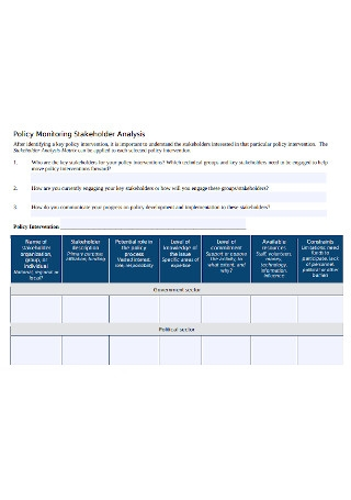 Policy Monitoring Stakeholder Analysis