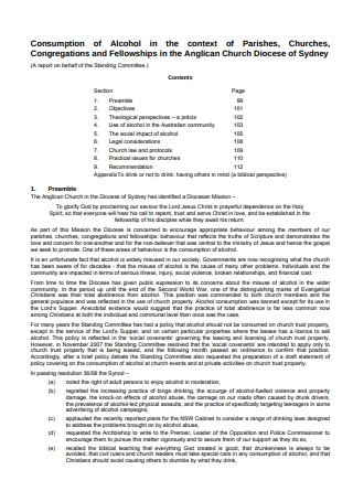 Policy on Consumption of Alcohol