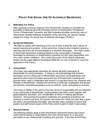 Policy on Social Use of Alcoholic Beverages