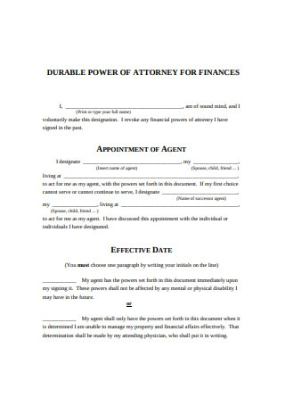Power of Attorney for finances