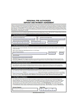 Pre Authorized Deposit Payment Agreement