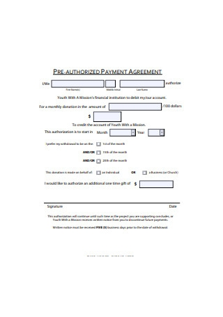 Pre Authorized Payment Agreement