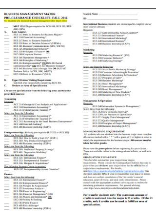 Pre Clearance Checklist