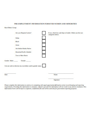 Pre Employment Information Form Sample