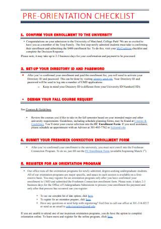 Pre Orientation Checklist