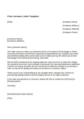 Price Increase Letter Template