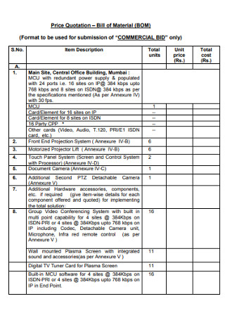 Price Quotation Bill of Material