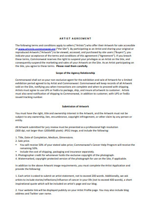 Printable Artist Agreement Example