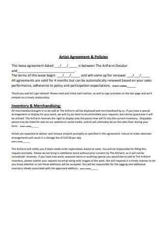 Printable Artist Agreement