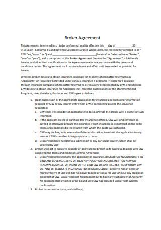 Printable Broker Agreement