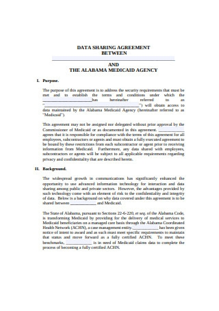Printable Data Sharing Agreement Example