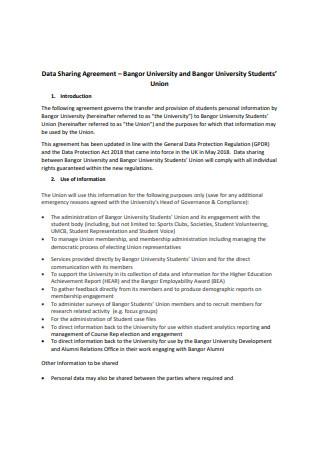 Printable Data Sharing Agreement