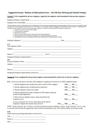 Printable Employment Information Form Example