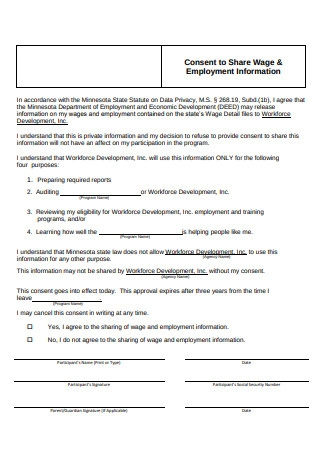 Printable Employment Information Form