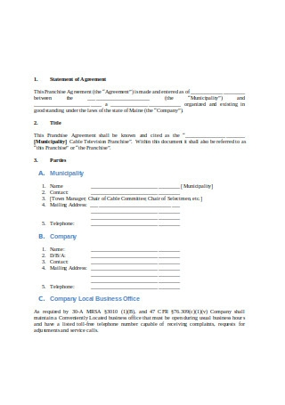 Printable Franchise Agreement Sample