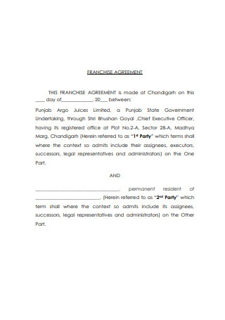 Printable Franchise Agreement