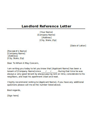 Printable Landlord Reference Letter