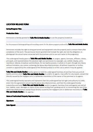 Printable Location Release Form Sample