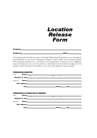 Printable Location Release Form
