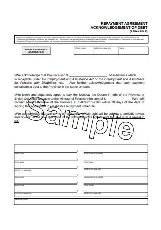 Printable Repayment Agreement