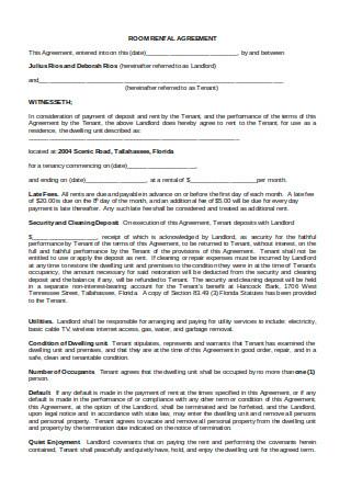 Printable Room Rental Agreement