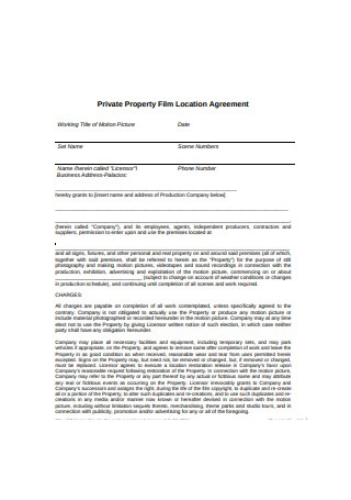 Private Property Film Location Agreement