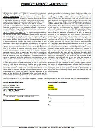 Product License Agreement
