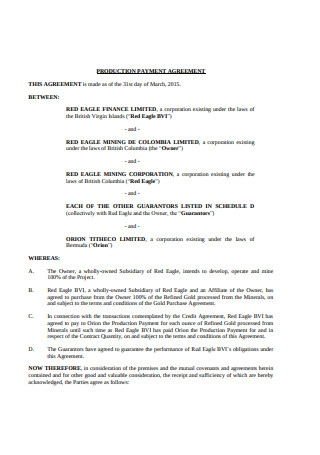 Production Payment Agreement