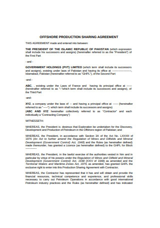 Production Sharing Agreement Sample