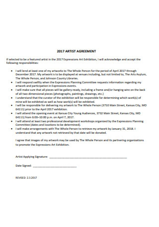 Professional Artist Agreement