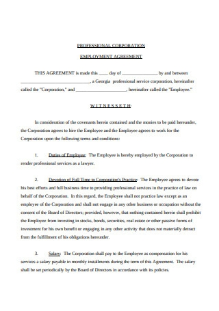 Professional Corporation Employment Agreement