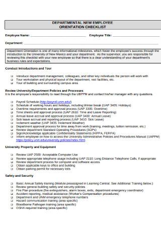 Professional Employee Orientation Checklist