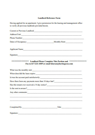 Professional Landlord Reference Form