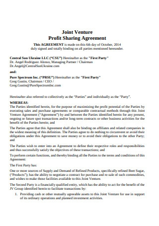 Profit Sharing Agreement Sample