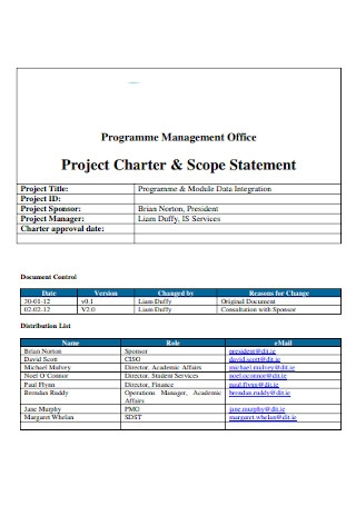 Project Charter Scope Statement