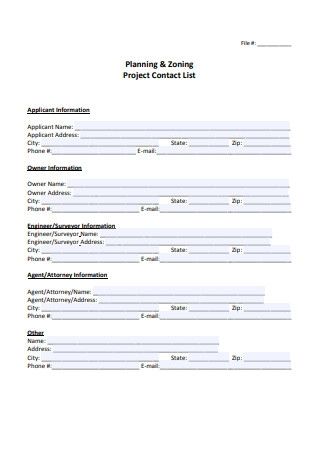 Project Contact List Template